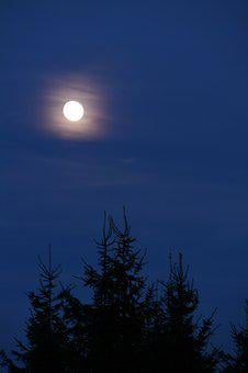 Full Moon, Moon, Night, Sky, Blue, Moonlight, Mystical