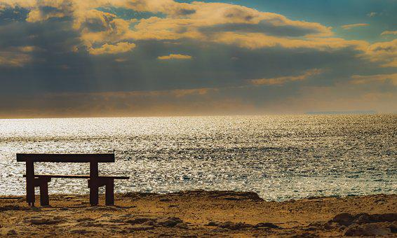 Bench, Sunset, Sea, Nature, Dusk, Sky, Clouds, Mood