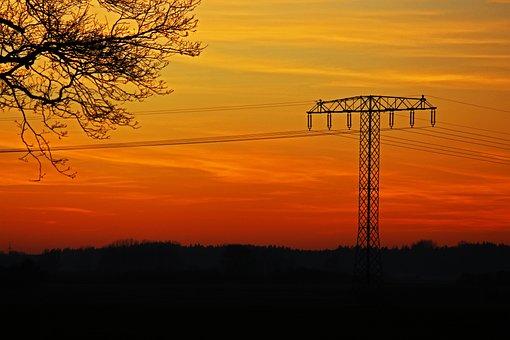 Sunset, Strommast, Current, Energy, Electricity, Sky
