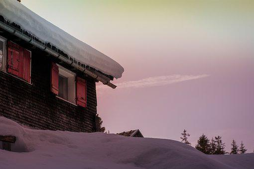 Hut, Woodhouse, Old, Winter, Snow, Morning, Nature
