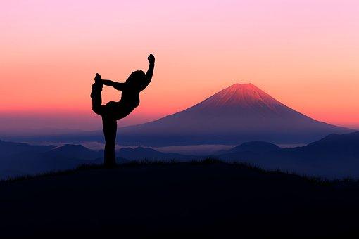 Yoga, Silhouette, Woman, Mountain, Fuji, Relaxation