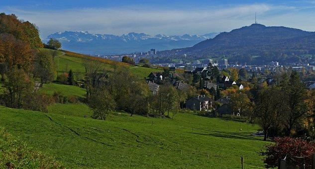 Landscape, Nature, Switzerland, Zurich, Pasture