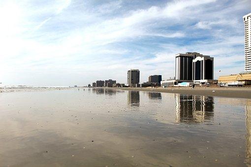 Atlantic City, Beach, Coast, Casino, Sand, Water, Shore