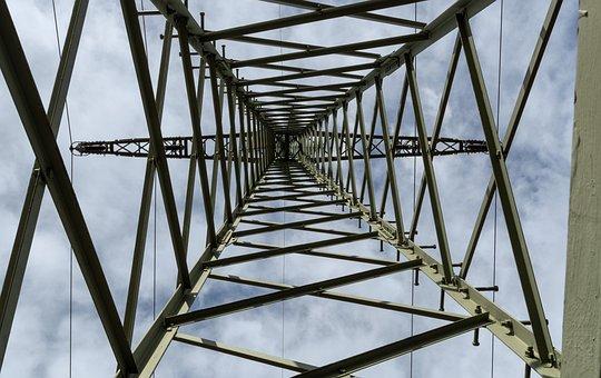 Current, High Voltage, Mast, Power Lines, Flash, Pylon