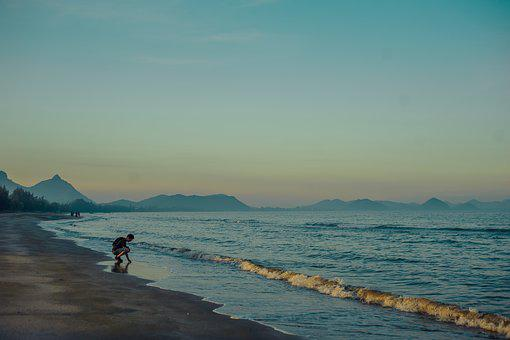 Thailand, Shore, Sand, Water, Sea, Man, Look, Exploring