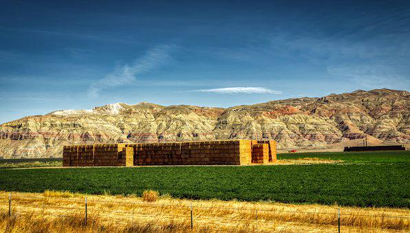 Wyoming, America, Panorama, Hdr, Ranch, Farm, Hay Bales