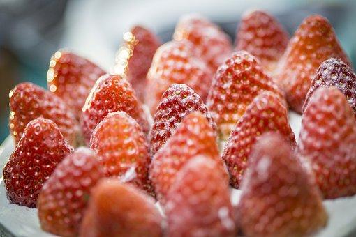 Strawberry, Red, Cake, Fruit, Macro