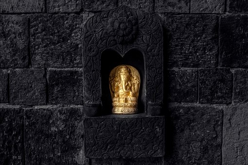 Ganesh, Image, Statue, Wall, Gold, Black, Stone