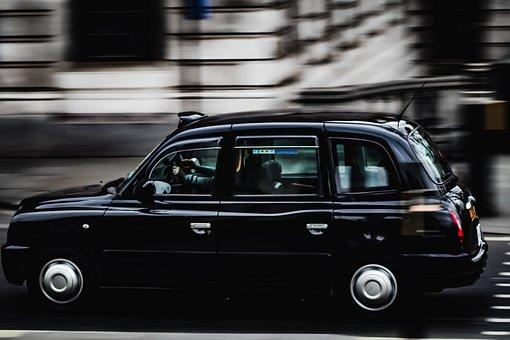 London, Taxi, Peak Hour, Trafalgar Square, Black
