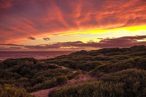 Beach, Orange, Sunset, Sea, Sunrise, Meditation, Ocean