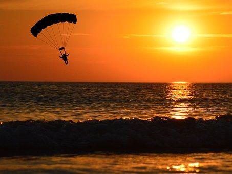 Paraglider, Sunset, Paragliding, Parachute, Silhouette