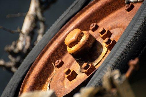 Old Wheel, Oxide, Rust, Broken