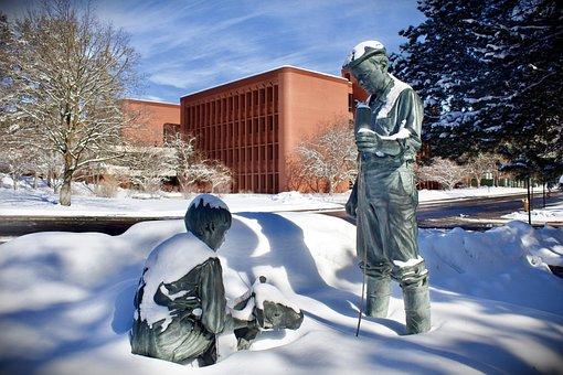 Statue, Veterinarian, Calf, Metal, Copper, Snow, Winter