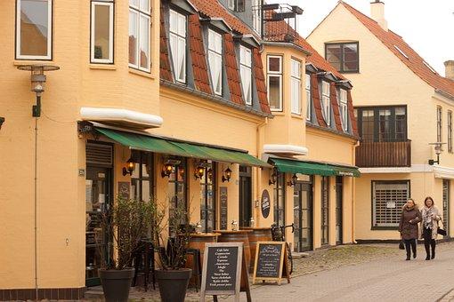 Village, Stroking, Street, Sidewalk, Road, City, Urban