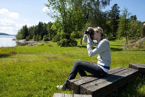 Photographer, Summer, Grass, Nature, Girl, Camera