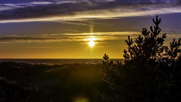Sunset, Sunset Sky, Clouds, Beach, Dunes, Evening, Dusk
