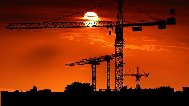 Sunset, Cranes, Site, Architecture, Silhouettes