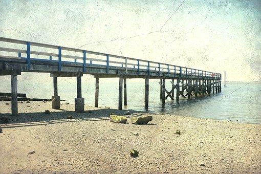 Crescent Beach, Pier, Vintage, Old, Tourism, Sea, Water