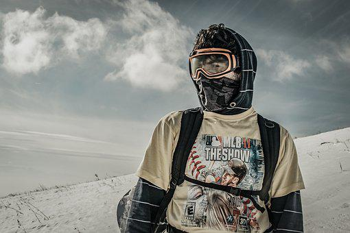 Hiker, Snowboard, Hiking, Landscape, Mountain, Winter