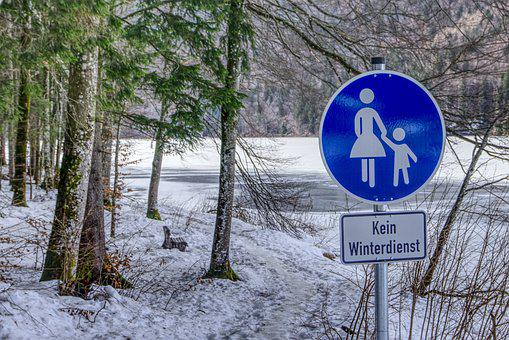 Traffic Sign, Pedestrian, Flatly, Away, Alpsee