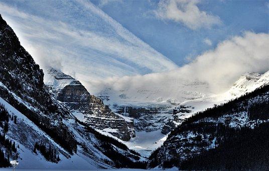 Mountains, Snow, Lake Louise, Winter, Blue Sky