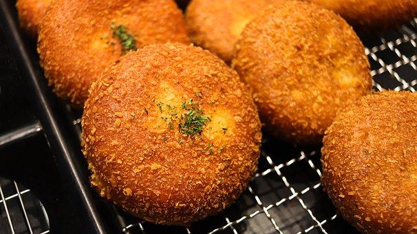 Bread, Croquette, Donut, Powder, Bakery, Korea