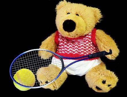 Teddy, Bear, Toy, Tennis, Sport, Fitness