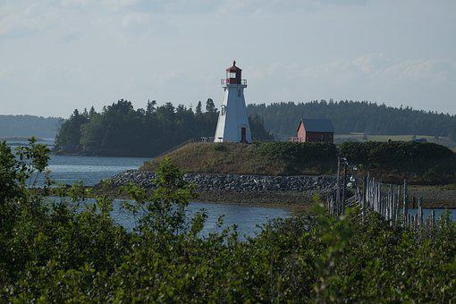 Lighthouse, Canada, Landscape, Coastline, Nautical