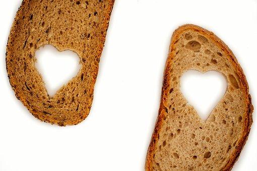 Bread, Slice Of Bread, Wheat, Whole Wheat, Heart, Love