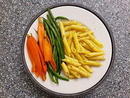 Carrots, Green Beans, Penne Pasta, Lunch, Delicious