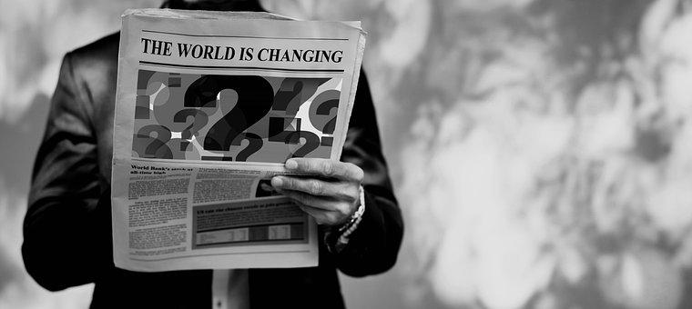 Change, World, Man, Newspaper, Read, Title, Heading