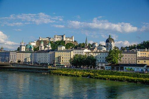 Salzburg, Castle, Landscape, Danube, Mirabell Gardens