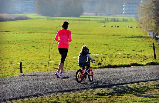 Woman, Child, Mother, Parent, Jogging, Bike, Bike Ride