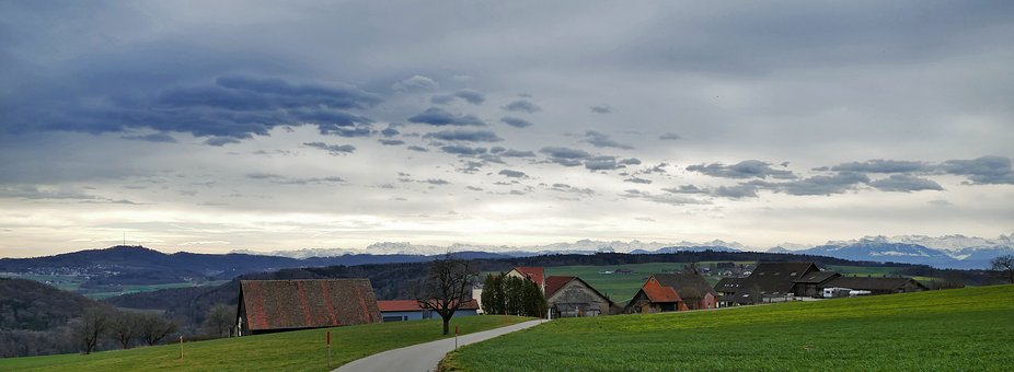 Landscape, Nature, Switzerland, Houses, Mountains, Hill