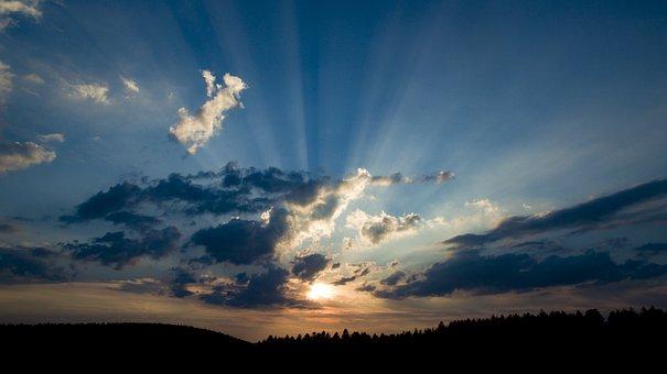 Sky, Black Forest, Clouds, Landscape, Nature, Sun, Rays