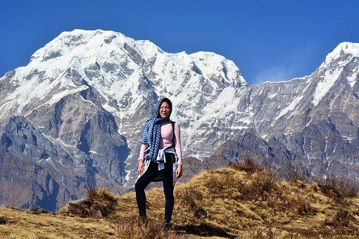 Himalaya, Nepal, Mountains, Girl, Woman, Tourist