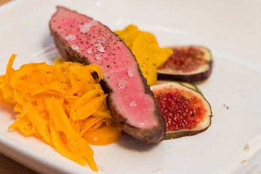 Menu, Eat, Dine, Meat, Duck Breast, Yam, Potato, Figs