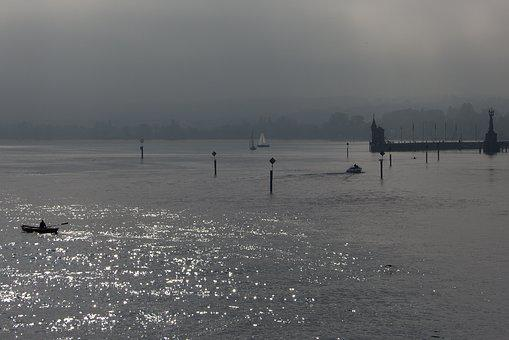 Lake Constance, Rain, Bad Weather, Rowing Boat, Dark