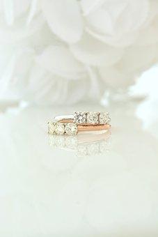 Diamond, Rose, White, Gold, Wedding, Three, Stone, Past