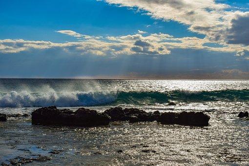 Sea, Sky, Clouds, Wave, Nature, Sunlight, Sunbeam