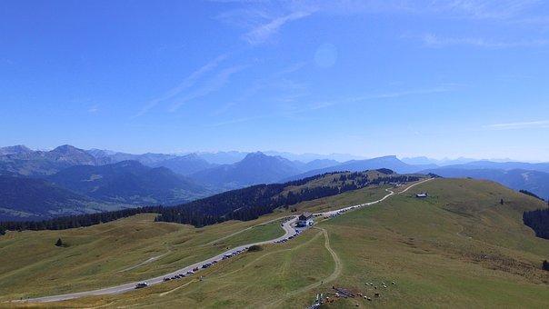 Landscape, France, Sky, Blue, Mountain, Semnoz