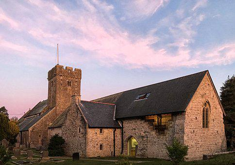 St Illytds, Church, Llantwit Major, Golden Hour, Dusk