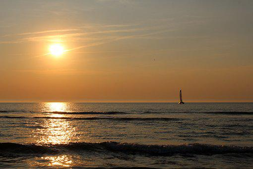 Sunset, Langeoog, Sea, East Frisia, Coast, Beach