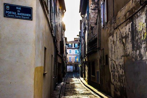 Illuminated, Alley, Urban, Street, City, Town, Scene