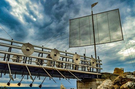 Bridge, Boat, Sculpture, Art, Sculpture Park, Sky