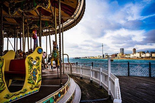 Brighton, Pier, Seaside, Fun Fair, Merry Go Round