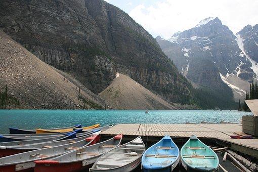 Lake, Mountains, Blue Water, Canoe, Boat, Dock