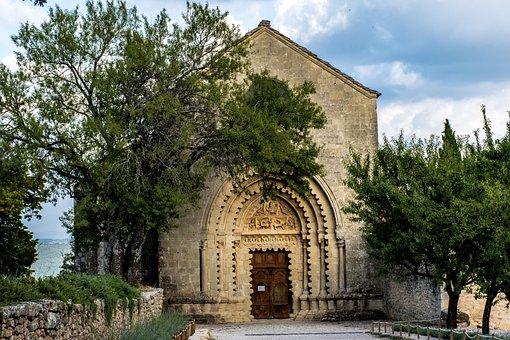 Trees, Eglise, Church, Provence, France, Europe