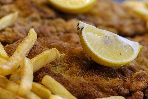 Schnitzel, French, Lemon, Meat, Breaded, Eat, Food