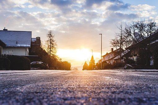 Residential Area, Sunrise, Ripe, Hoarfrost, Frost